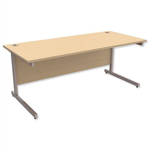 Office Desk Rectangular Silver Legs W1800mm Maple Ashford