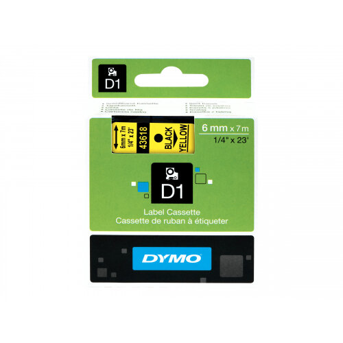 DYMO D1 - Self-adhesive - black on yellow - Roll (0.6cm x 7m) 1 roll(s) label tape - for LabelMANAGER 150, 350, 350D, 450, 450D, PC; LabelPOINT 250, 350