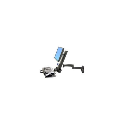 """Ergotron 200 Series Combo Arm - Mounting kit (handle, wall plate, articulating arm, support tray) for LCD display / keyboard / mouse / bar code scanner - black - screen size: up to 24"""" - wall-mountable"""