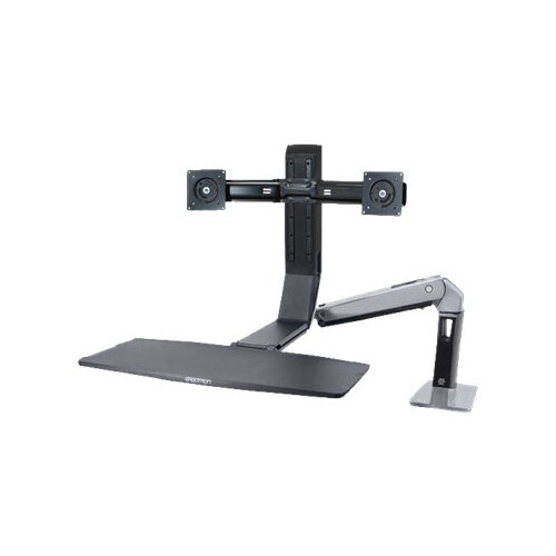 """Ergotron WorkFit-A Dual - Stand (tray, desk clamp mount, pivot) for 2 LCD displays / keyboard / mouse - black, polished aluminium - screen size: up to 22"""""""