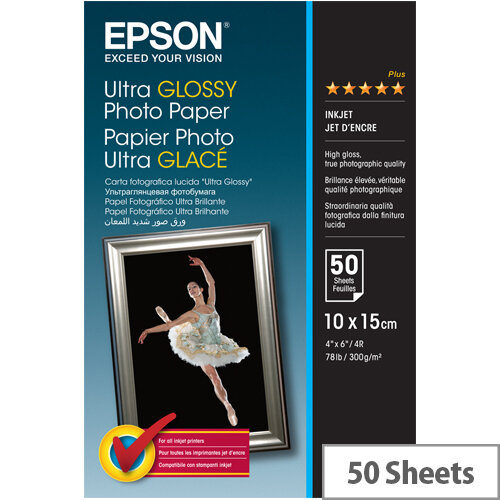 Epson Ultra Glossy Photo Paper - Glossy - 100 x 150 mm 50 sheet(s) photo paper - for Expression Home HD XP-15000; Expression Premium XP-540, 6000, 6005, 900