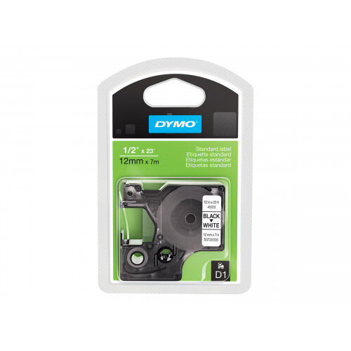 DYMO D1 - Self-adhesive - black on white - Roll (1.2 cm x 7 m) 1 roll(s) label tape - for LabelMANAGER 160, 210D, 210D Kit, 210D Kit Case, 280, 360D, 420P, 420P Kit, 500TS, PnP