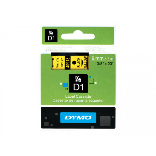 DYMO D1 - Polyester - self-adhesive - black on yellow - Roll (0.9 cm x 7 m) 1 roll(s) label tape - for LabelMANAGER