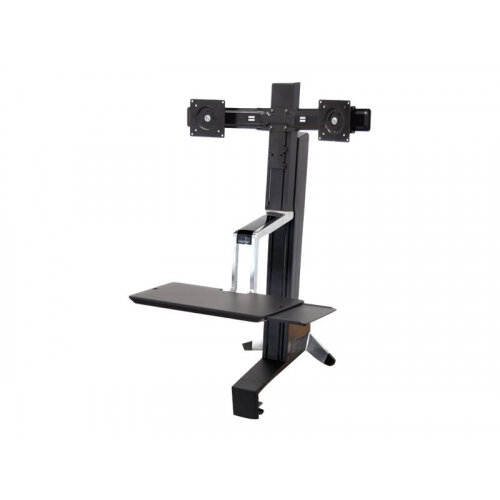 "Ergotron WorkFit-S Dual Sit-Stand Workstation - Stand (tray, desk clamp mount, column, crossbar extender, 2 pivots) for 2 LCD displays / keyboard / mouse - steel - black - screen size: 22"" - table mount"