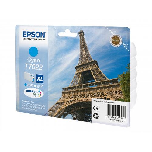 Epson T7022 - XL size - cyan - original - blister - ink cartridge - for WorkForce Pro WP-4015, WP-4025, WP-4095, WP-4515, WP-4525, WP-4535, WP-4545, WP-4595