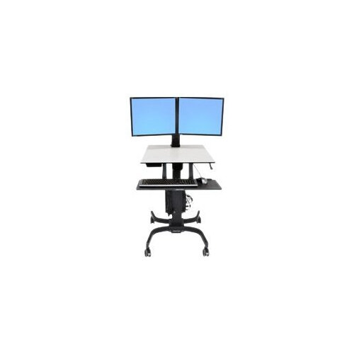 """Ergotron WorkFit-C Dual Sit-Stand Workstation - Cart for 2 LCD displays / keyboard / mouse / CPU - grey, black - screen size: 22"""""""