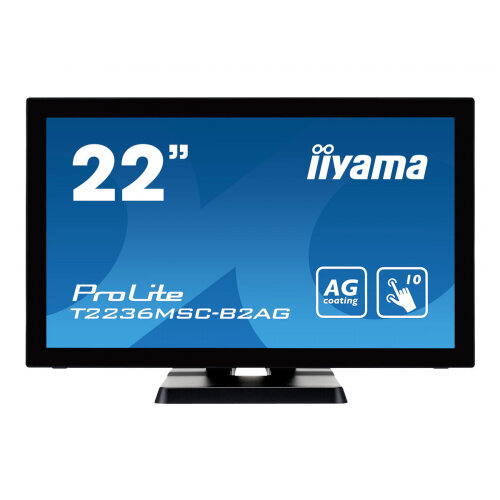 "Iiyama ProLite T2236MSC-B2AG - LED Computer Monitor - 21.5"" (21.5"" viewable) - touchscreen - 1920 x 1080 Full HD (1080p) - A-MVA - 250 cd/m² - 3000:1 - 8 ms - HDMI, DVI-D, VGA - speakers - black"