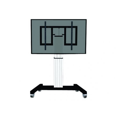 "NewStar Motorized (Height &Tilt Adjustable) Mobile Floor Stand for 42-100"" Screen, Silver - Cart for LCD / plasma panel / media player / mini PC (motorised) - silver, RAL 9006, white aluminium - screen size: 42""-100"""