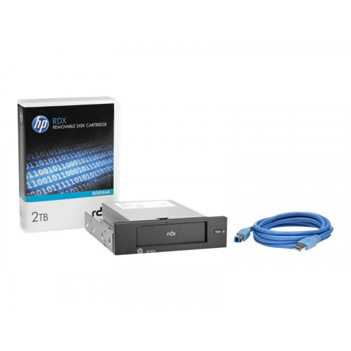 """HPE RDX Removable Disk Backup System - Disk drive - RDX - SuperSpeed USB 3.0 - internal - 5.25"""" - with 2 TB Cartridge"""