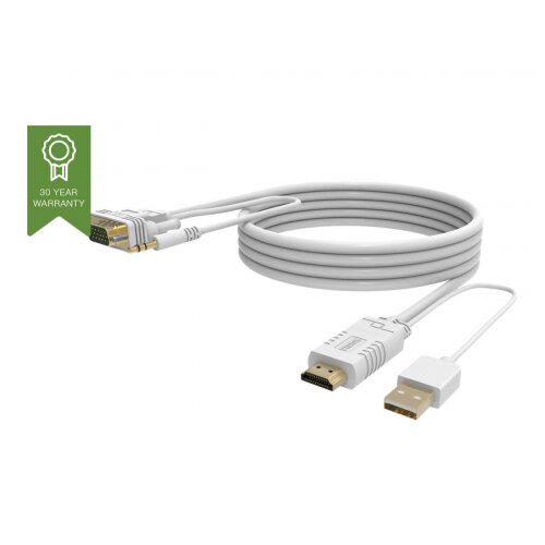 VISION Techconnect - Video / audio cable - HDMI / VGA / audio / USB - HD-15, stereo mini jack (M) to USB, HDMI (M) - 2 m - white - thumbscrews
