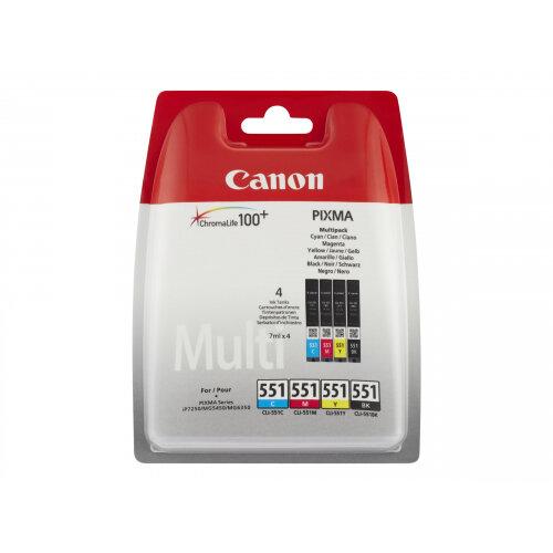 Canon CLI-551 C/M/Y/BK Multipack - 4-pack - black, yellow, cyan, magenta - original - ink tank - for PIXMA iP8750, iX6850, MG5550, MG5650, MG5655, MG6450, MG6650, MG7150, MG7550, MX725, MX925