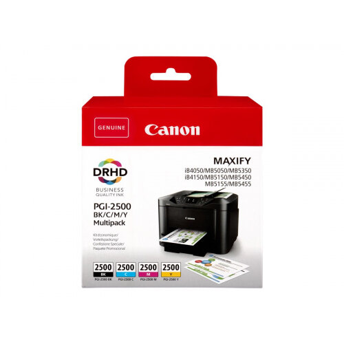 Canon PGI-2500 BK/C/M/Y Multipack - 4-pack - black, yellow, cyan, magenta - original - ink tank - for MAXIFY iB4050, iB4150, MB5050, MB5150, MB5155, MB5350, MB5450, MB5455