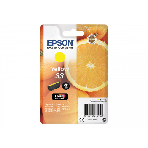 Epson 33 - 4.5 ml - yellow - original - blister - ink cartridge - for Expression Home XP-635, 830; Expression Premium XP-530, 540, 630, 635, 640, 645, 830, 900