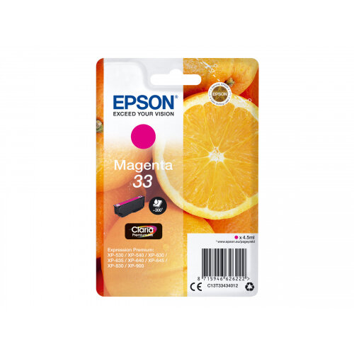 Epson 33 - 4.5 ml - magenta - original - blister - ink cartridge - for Expression Home XP-635, 830; Expression Premium XP-530, 540, 630, 635, 640, 645, 830, 900