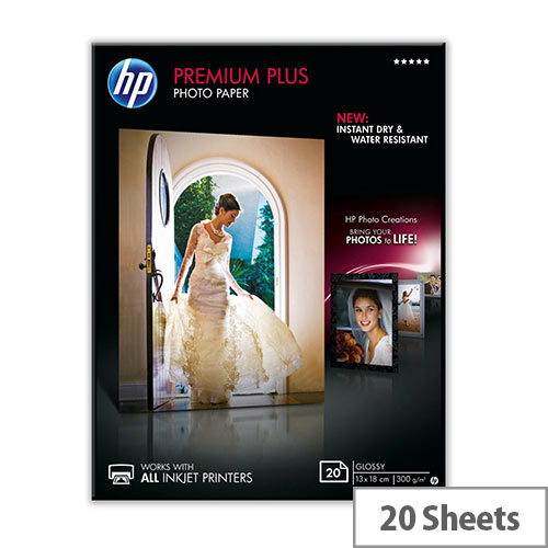 HP Premium Plus Photo Paper - Glossy - 130 x 180 mm - 300 g/m² - 20 sheet(s) photo paper - for Envy 5055, 7645; Officejet 5255, 76XX; PageWide MFP 377; PageWide Pro 452; Photosmart 5525