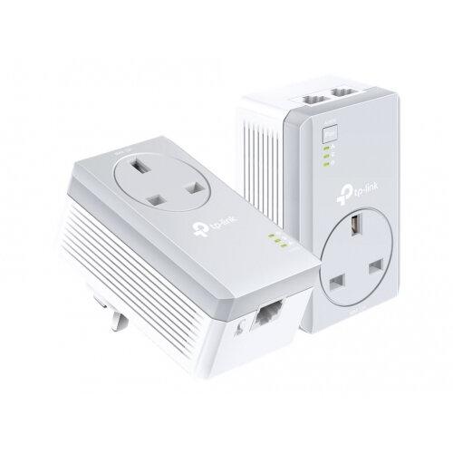 TP-Link TL-PA4022P KIT AV600 2-port Passthrough Powerline - Starter Kit - bridge - HomePlug AV (HPAV) - wall-pluggable