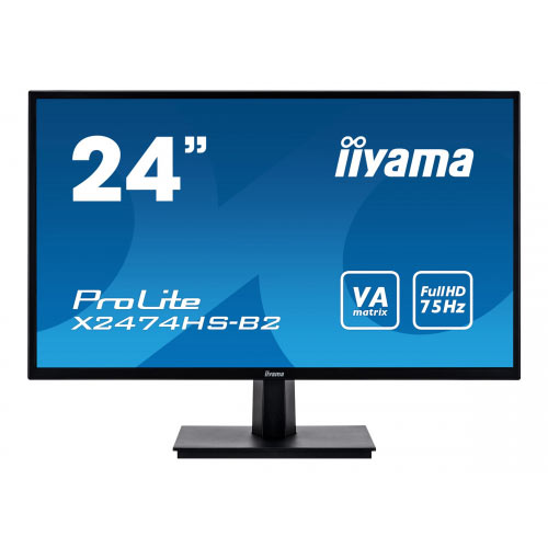 iiyama ProLite X2474HS-B2 - LED monitor - 24&uot; (23.6&uot; viewable) - 1920 x 1080 Full HD (1080p) - VA - 250 cd/m&up2; - 3000:1 - 4 ms - HDMI, VGA, DisplayPort - speakers - black