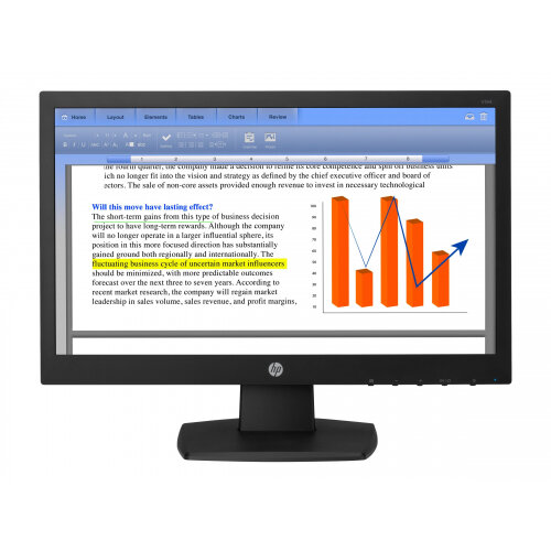 HP V194 - LED monitor - 18.5&uot; (18.5&uot; viewable) - 1366 x 768 - TN - 200 cd/m&up2; - 600:1 - 5 ms - VGA - black