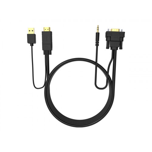 VISION Techconnect - Video / audio cable - HDMI / VGA / audio / USB - HDMI, USB (power only) (M) to HD-15 (VGA), stereo mini jack (M) - 2 m - black - USB power
