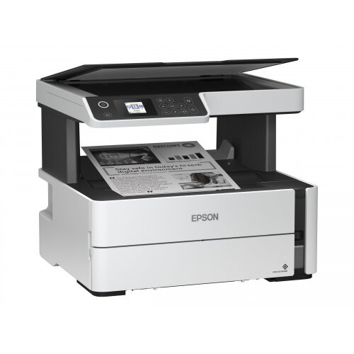 Epson EcoTank ET-M2170 - Multifunction printer - B/W - ink-jet - A4/Legal (media) - up to 39 ppm (printing) - 250 sheets - USB, LAN, Wi-Fi - white