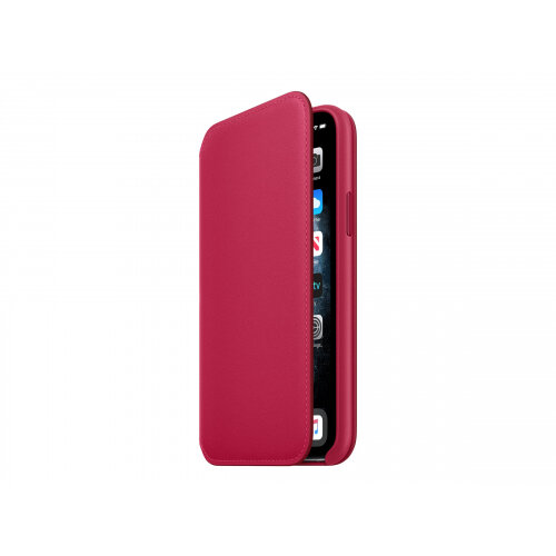 Apple Folio - Flip cover for mobile phone - leather - raspberry - for iPhone 11 Pro