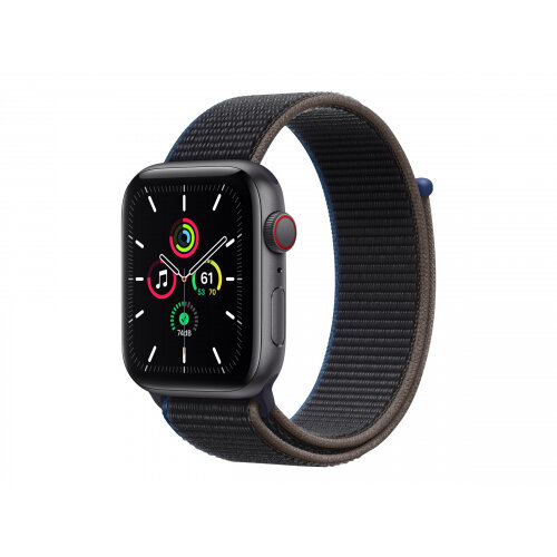 Apple Watch SE (GPS + Cellular) - 44 mm - space grey aluminium - smart watch with sport loop - woven nylon - charcoal - band size 145-220 mm - 32 GB - Wi-Fi, Bluetooth - 4G - 36.36 g