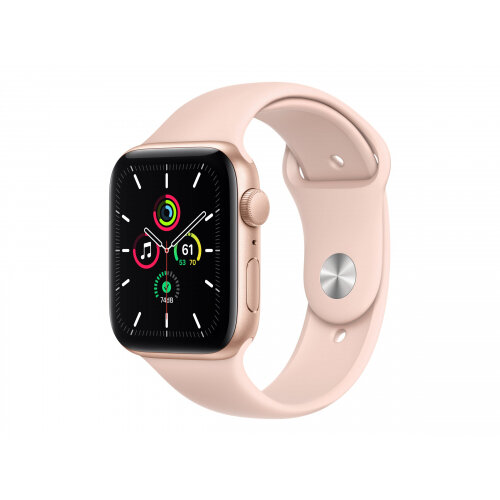 Apple Watch SE (GPS) - 44 mm - gold aluminium - smart watch with sport band - fluoroelastomer - pink sand - band size 140-210 mm - S/M/L - 32 GB - Wi-Fi, Bluetooth - 36.2 g