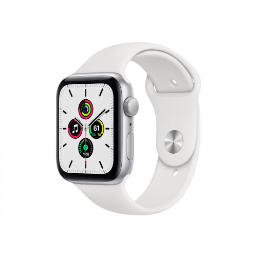 Apple Watch SE (GPS) - 44 mm - silver aluminium - smart watch with sport band - fluoroelastomer - white - band size 140-210 mm - S/M/L - 32 GB - Wi-Fi, Bluetooth - 36.2 g