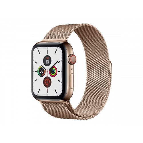 Apple Watch Series 5 (GPS + Cellular) - 44 mm - gold stainless steel - smart watch with milanese loop - steel mesh - gold - band size 150-200 mm - 32 GB - Wi-Fi, Bluetooth - 4G - 47.8 g