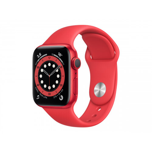 Apple Watch Series 6 (GPS) - (PRODUCT) RED - 40 mm - red aluminium - smart watch with sport band - fluoroelastomer - red - band size 130-200 mm - S/M/L - 32 GB - Wi-Fi, Bluetooth - 30.5 g