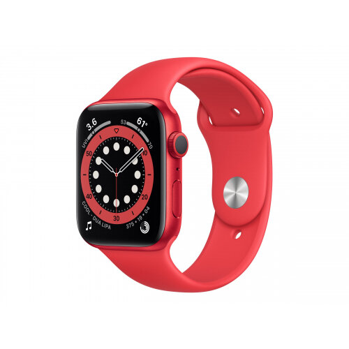 Apple Watch Series 6 (GPS) - (PRODUCT) RED - 44 mm - red aluminium - smart watch with sport band - fluoroelastomer - red - band size 140-210 mm - S/M/L - 32 GB - Wi-Fi, Bluetooth - 36.5 g