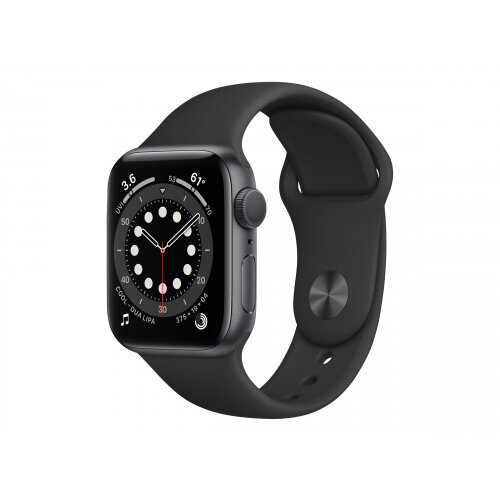 Apple Watch Series 6 (GPS) - 40 mm - space grey aluminium - smart watch with sport band - fluoroelastomer - black - band size 130-200 mm - S/M/L - 32 GB - Wi-Fi, Bluetooth - 30.5 g