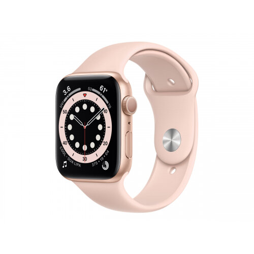 Apple Watch Series 6 (GPS) - 44 mm - gold aluminium - smart watch with sport band - fluoroelastomer - pink sand - band size 140-210 mm - S/M/L - 32 GB - Wi-Fi, Bluetooth - 36.5 g