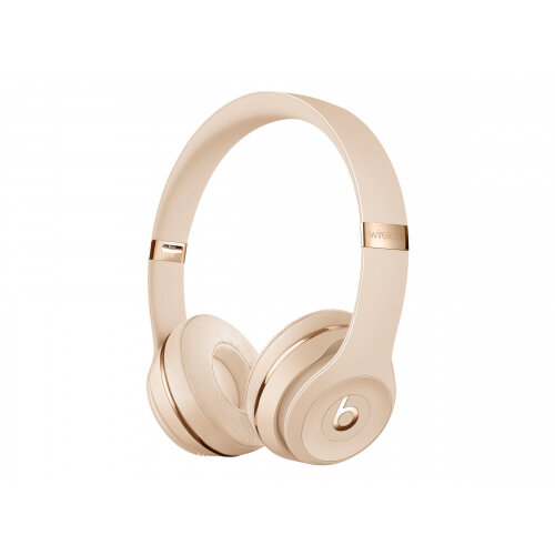 Beats Solo3 - The Beats Icon Collection - headphones with mic - on-ear - Bluetooth - wireless - 3.5 mm jack - noise isolating - satin gold - for iPhone SE (2nd generation)
