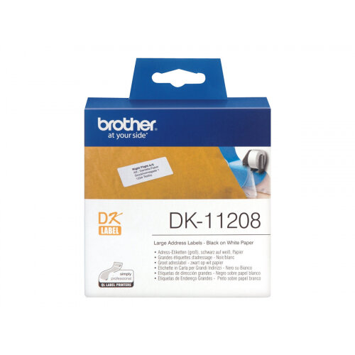 Brother DK-11208 - Black on white - 400) address labels - for Brother QL-1050, 1060, 500, 550, 560, 570, 580, 600, 650, 700, 710, 720, 820