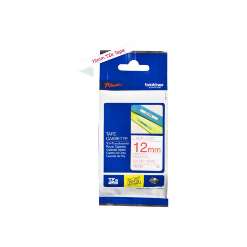 Brother TZe-232 - Standard adhesive - red on white - Roll (1.2 cm x 8 m) 1 roll(s) laminated tape - for Brother PT-D210, D600, H110; P-Touch PT-1005, 1880, E800, H110; P-Touch Cube Plus PT-P710