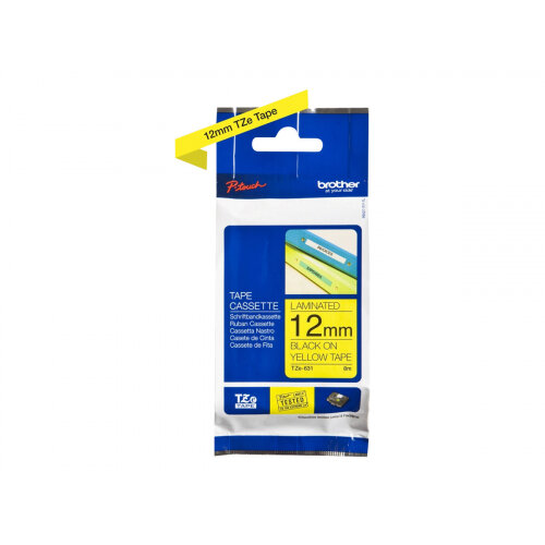 Brother TZe-631 - Standard adhesive - black on yellow - Roll (1.2 cm x 8 m) 1 roll(s) laminated tape - for Brother PT-D210, D600, H110; P-Touch PT-1005, 1880, E800, H110; P-Touch Cube Plus PT-P710