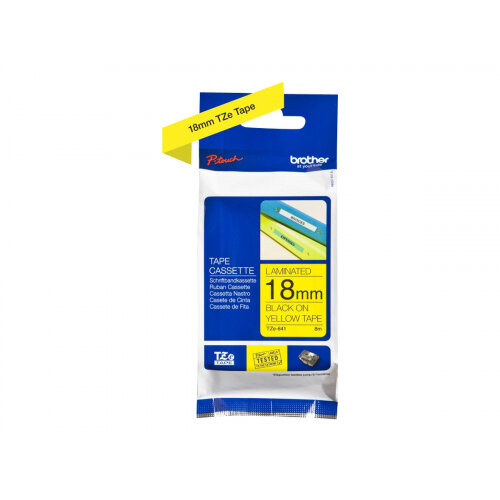 Brother TZe-641 - Standard adhesive - black on yellow - Roll (1.8 cm x 8 m) 1 roll(s) laminated tape - for Brother PT-D600; P-Touch PT-1880, D450, E550, E800, P900, P950; P-Touch Cube Plus PT-P710