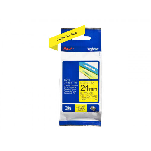 Brother TZe-651 - Standard adhesive - black on yellow - Roll (2.4 cm x 8 m) 1 roll(s) laminated tape - for Brother PT-D600; P-Touch PT-1880, D450, D800, E550, E800, P900, P950; P-Touch EDGE PT-P750