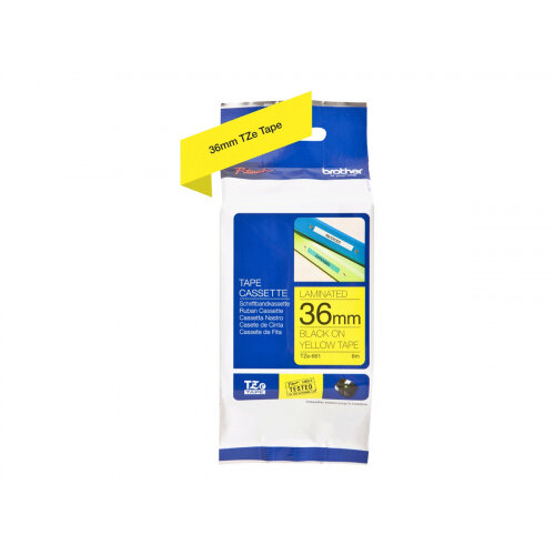 Brother TZe-661 - Standard adhesive - black on yellow - Roll (3.6 cm x 8 m) 1 roll(s) laminated tape - for P-Touch PT-3600, 530, 550, 9200, 9400, 9500, 9600, 9700, 9800, D800, E800, P900, P950