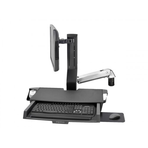 Ergotron StyleView Combo Arm with Worksurface ∓ Pan - Mounting kit (wrist rest, wall mount bracket, track mount bracket kit, slide-out mouse tray, monitor mount, combo arm, work surface with keyboard tray, scanner and mouse holder) for LCD display / k