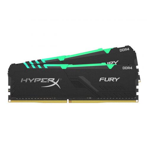 HyperX FURY RGB - DDR4 - 16 GB Kit : 2 x 8 GB - DIMM 288-pin - 3200 MHz / PC4-25600 - CL16 - 1.35 V - unbuffered - non-ECC - black