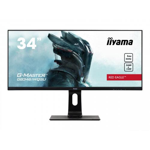 iiyama G-MASTER Red Eagle GB3461WQSU-B1 - LED monitor - 34&uot; (34&uot; viewable) - 3440 x 1440 UWQHD @ 144 Hz - ADS-IPS - 350 cd/m&up2; - 1000:1 - 1 ms - 2xHDMI, 2xDisplayPort - speakers - matte black