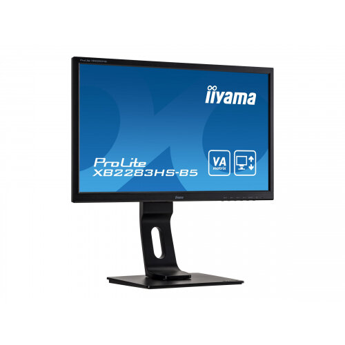 iiyama ProLite XB2283HS-B5 - LED monitor - 22&uot; (21.5&uot; viewable) - 1920 x 1080 Full HD (1080p) @ 75 Hz - VA - 250 cd/m&up2; - 3000:1 - 4 ms - HDMI, VGA, DisplayPort - speakers - black