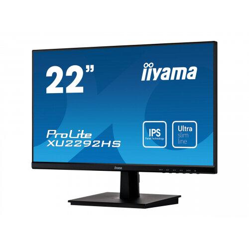 iiyama ProLite XU2292HS-B1 - LED monitor - 22&uot; (21.5&uot; viewable) - 1920 x 1080 Full HD (1080p) @ 75 Hz - IPS - 250 cd/m&up2; - 1000:1 - 4 ms - HDMI, VGA, DisplayPort - speakers - matte black