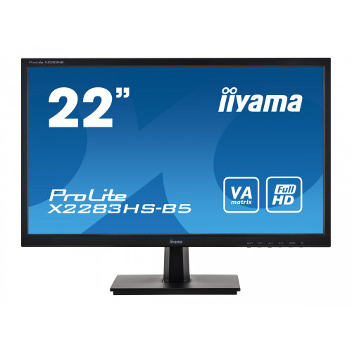 iiyama ProLite X2283HS-B5 - LED monitor - 22&uot; (21.5&uot; viewable) - 1920 x 1080 Full HD (1080p) @ 75 Hz - VA - 250 cd/m&up2; - 3000:1 - 4 ms - HDMI, VGA, DisplayPort - speakers - matte black