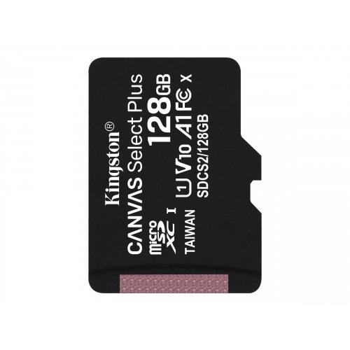 Kingston Canvas Select Plus - Flash memory card - 128 GB - A1 / Video Class V10 / UHS Class 1 / Class10 - microSDXC UHS-I