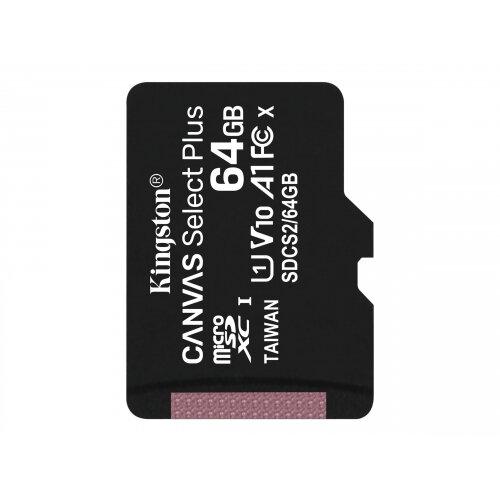 Kingston Canvas Select Plus - Flash memory card - 64 GB - A1 / Video Class V10 / UHS Class 1 / Class10 - microSDXC UHS-I