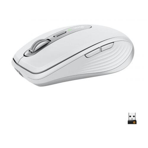 Logitech MX Anywhere 3 - Mouse - laser - 6 buttons - wireless - Bluetooth, 2.4 GHz - USB wireless receiver - light grey