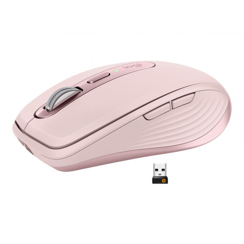 Logitech MX Anywhere 3 - Mouse - laser - 6 buttons - wireless - Bluetooth, 2.4 GHz - USB wireless receiver - rose